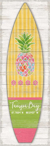 Yellow Striped Pineapple Surfboard Custom Art