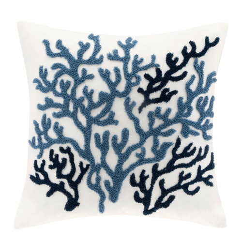 Beach House Blues Coral Embellished Pillow