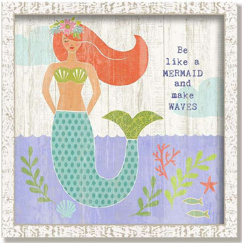 Whimsical Red-Haired Mermaid Framed Art