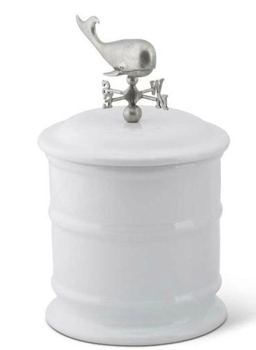 Short Whale Weathervane Stoneware Canister