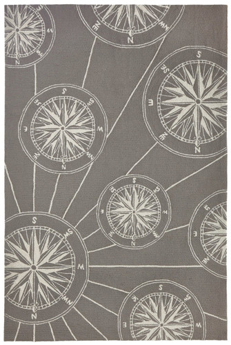 Compass Rose Nautical Grey Rug