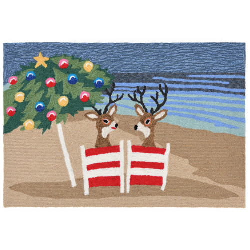 Coastal Reindeer Holiday Rug