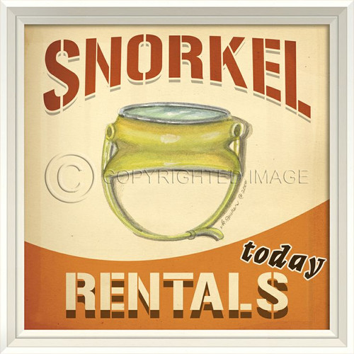 Snorkels for Rent Beach Poster Wall Art