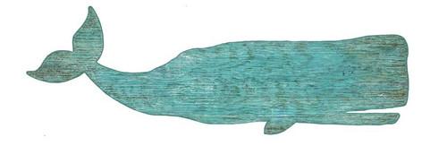 Large Aqua Whale Wall Decor