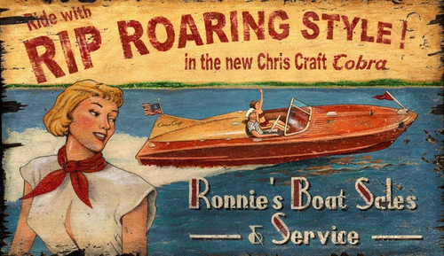 Rip Roaring Chris Craft Style Art Sign