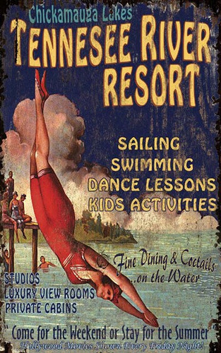 Vintage Resort Art Sign with Diving Girl-Custom
