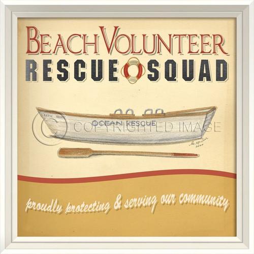 Beach Volunteer Rescue Squad - Framed Beach Art
