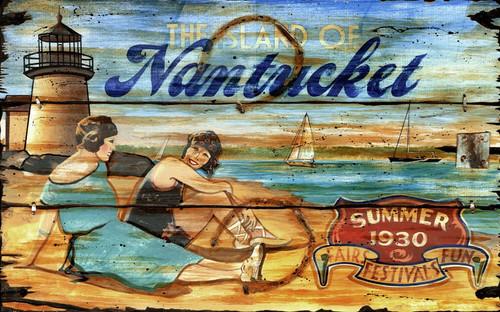 Lighthouse Vintage Art Sign