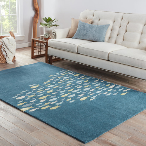 Captain's Blue Go Fish Wool Area Rug