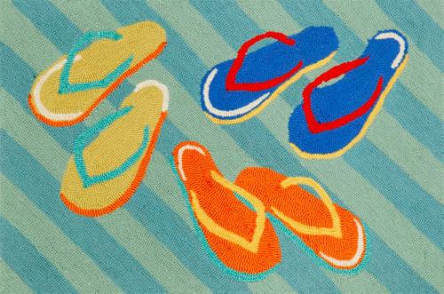Colorful Striped Flip Flop Area Rug
