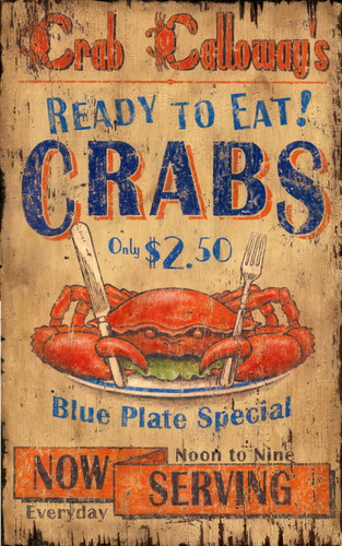 Crab Blue Plate Special Coastal Sign