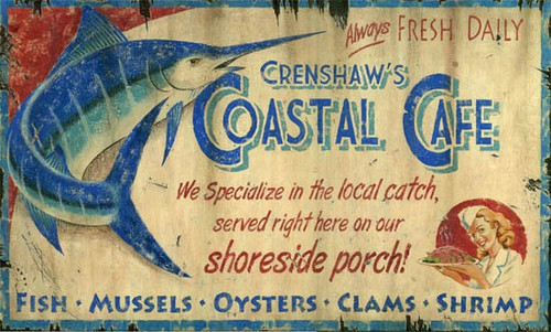 Coastal Cafe Art Sign