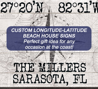 Custom Longitude-Latitude Beach House Signs