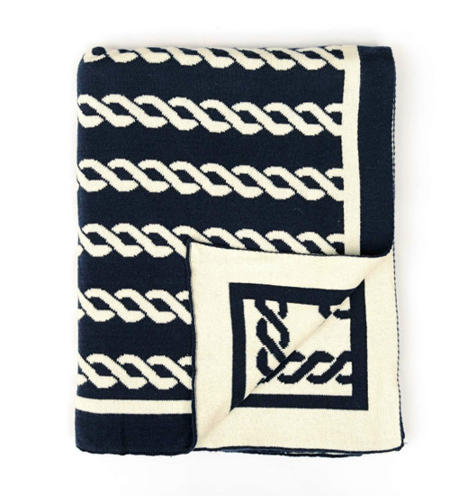 Navy Nautico Knit Throw