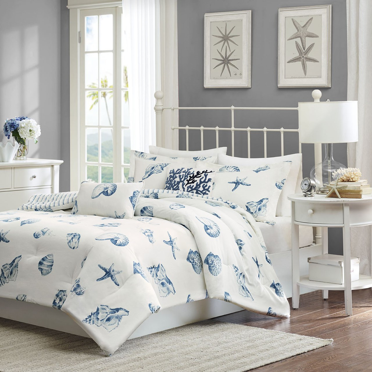 Beach House Blues Comforter Set King Size