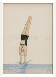 Diver In Black Framed Wall Art