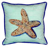 Teal Whimsical Starfish Pillow