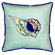 Teal Trumpet Sea Shell Coastal Pillow