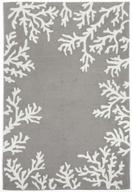 Coral Bordered Silver Grey Area Rug