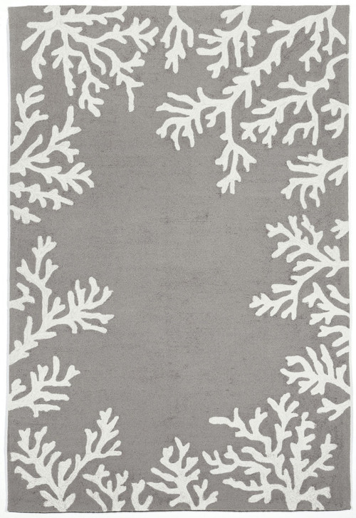 Coral Bordered Silver Grey Area Rug