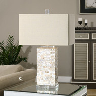 Elegant Capiz Shell Tiled Lamp