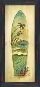 Palm Style Surfboard Art - black frame