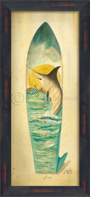 Large Marlin Surfboard Art - black frame