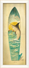 Large Marlin Surfboard Art - white frame