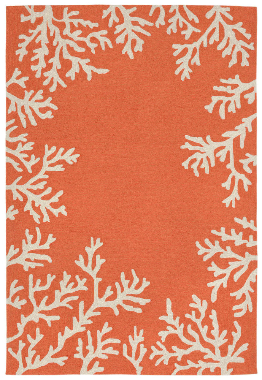 Coral Bordered Orange Coral Area Rug