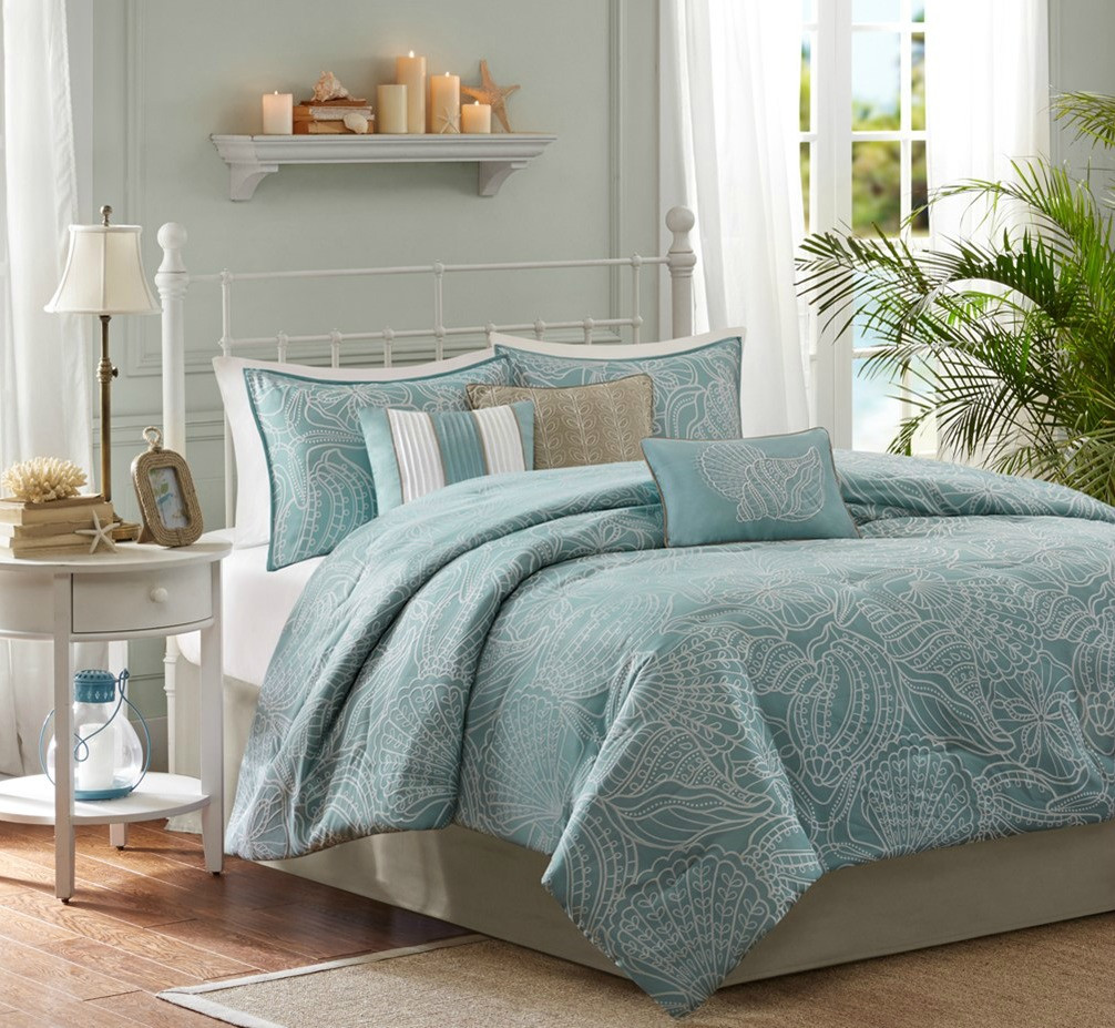 Carmel By The Sea Blue Comforter Set Queen Size