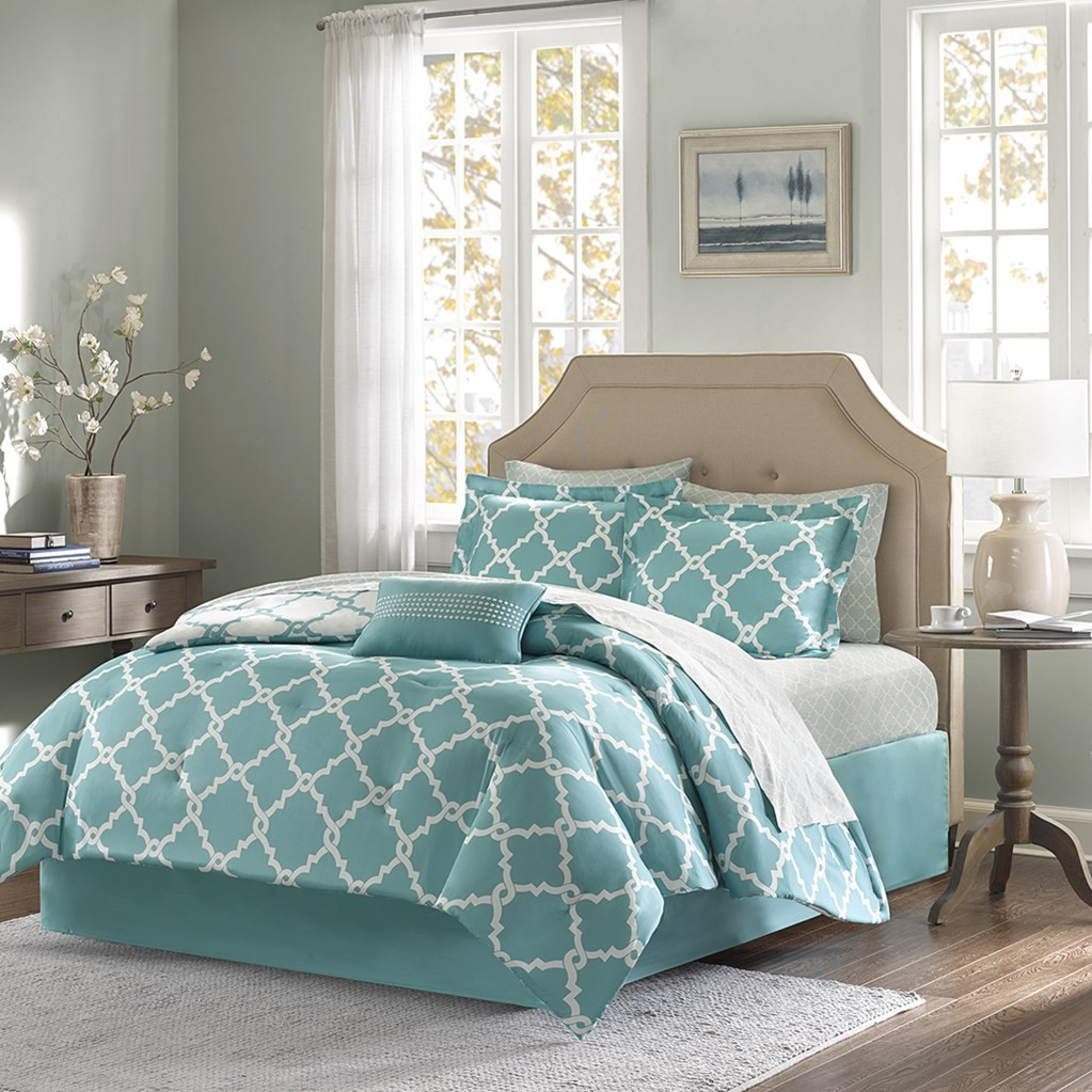 Teal Blue Fretwork Comforter Set Queen Size