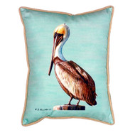 Teal Pelican Indoor-Outdoor Pillow