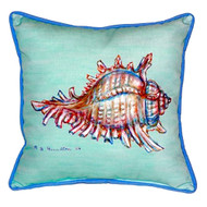 Teal Tropical Conch Shell Indoor-Outdoor Pillow