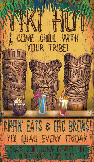 Custom Tiki Lounge Sign