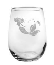 Mermaid Etched Wine Tumbler - Set of 4