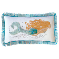 Embroidered Aqua Swimming Mermaid Pillow
