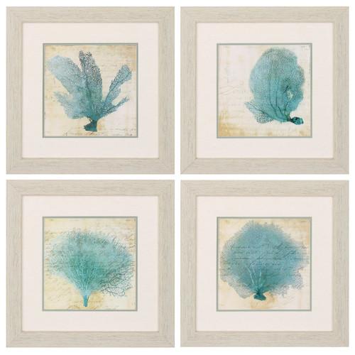 Blue Coral Prints Set Of 4