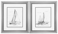 Coastal Boat Sketch Set of 2