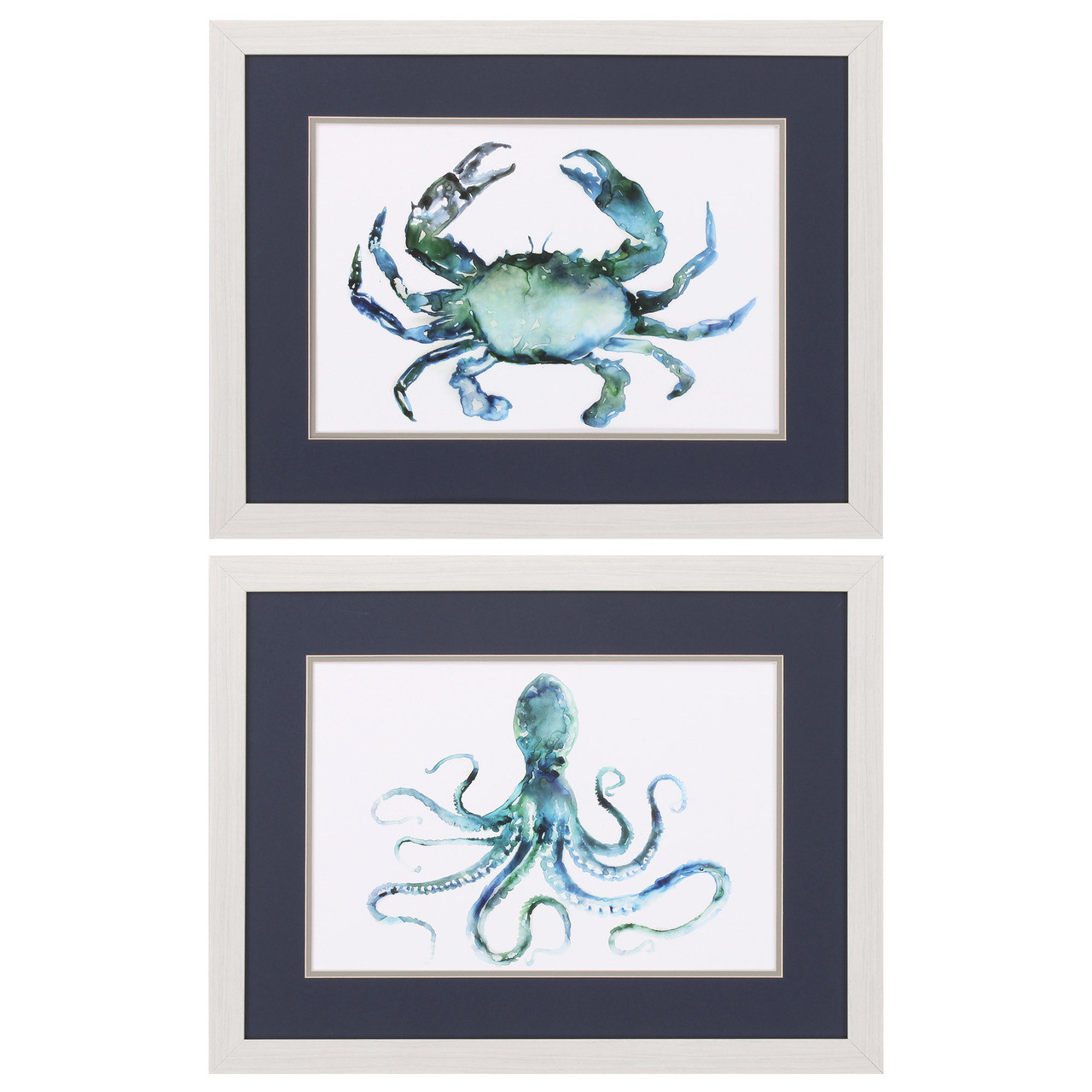 Blue Octopus And Crab Prints Set Of 2