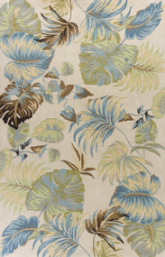 Ivory and Blue Island Oasis Luxury Rug