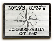 Custom Latitude-Longitude Sign - White