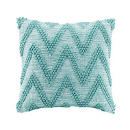Aqua Chevron Textural Pillow