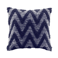 Navy Blue Chevron Textural Pillow