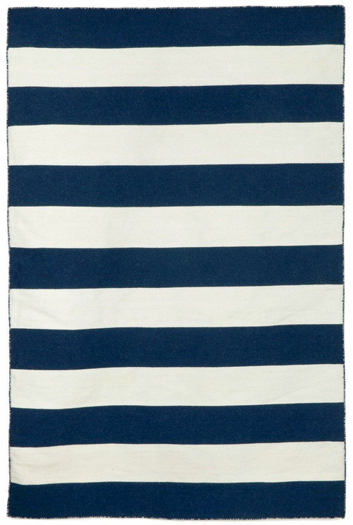 Navy Blue Rugby Striped Woven Indoor-Outdoor Rug