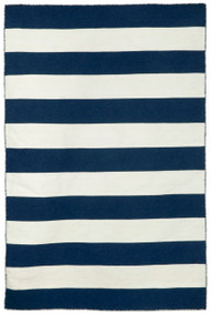 Navy Blue Rugby Striped Woven Indoor Outdoor Rug
