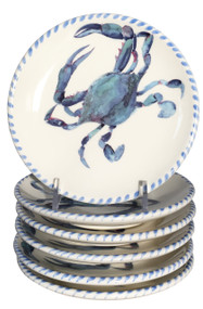Blue Crab Canape Plates - Set of 6