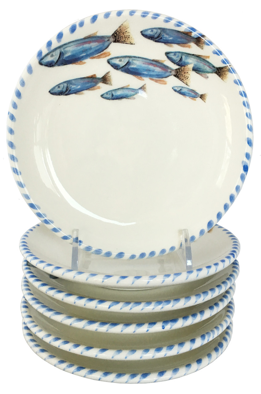 Blue School Of Fish Canape Plates Set Of 6