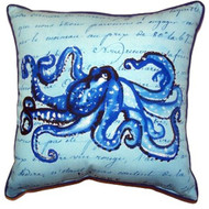 Blue Script Octopus Pillow