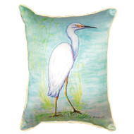 Beautiful Snowy Egret Beach Large Pillow