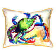 Watercolor Teal Crab Beach Cottage Large Pillow